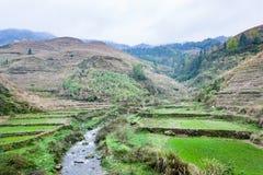 Water stream between terraced fields of Dazhai Stock Photos
