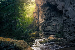Water stream in Than Lod Yai cave. Than Lod Yai cave, Kanchanaburi, Thailand Stock Image