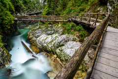 Water stream and wooden path in Vintgar gorge, Bled, Slovenia Royalty Free Stock Photography
