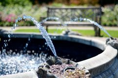 Water Streaming from Fountain in the English Garden. In Assiniboine Park, Winnipeg, Manitpba stock image