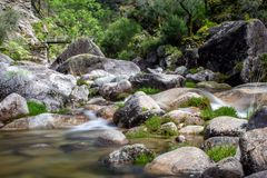 Water streams and rocks in Geres Portugal stock photo