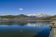 Water streams, rocks, trees and beatiful sky. Navacerrada reservoir. Through the mountains of the community of Madrid it is common to find currents of water that royalty free stock photography