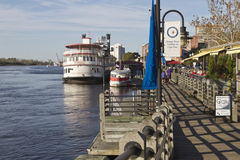 Water Street Boardwalk in Wilmington, NC Royalty Free Stock Image
