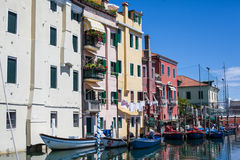 Water street. Boats on the water street in cioggia Stock Image