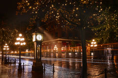 Water Street Night, Gastown, Vancouver Stock Image