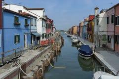 Water street repair in Burano island, near Venice, Italy, Europe Stock Image