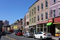 Water Street in St. John's, Newfoundland stock image