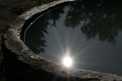 Water sun. Sun and tree shadows mirrored in water Stock Images