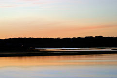 Water Sunset. A beautiful sunset on the Westport river Royalty Free Stock Images
