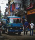 Water Supplier Truck Crossing Crowded Thamel Street. Editorial Royalty Free Stock Images