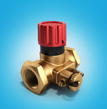 The water supply Crane valve manual 3d render on blue gradient Stock Images
