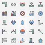 Water supply flat icons Stock Photo