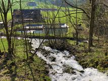 Water supply flowing source Tschuder with waterfall and karst spring or Karstquelle Tschuder, Schwende stock photos