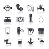 Water Supply Icons Black Stock Photography