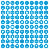 100 water supply icons set blue. 100 water supply icons set in blue hexagon isolated vector illustration royalty free illustration