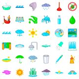 Water supply icons set, cartoon style Stock Photos