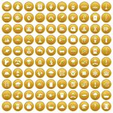 100 water supply icons set gold. 100 water supply icons set in gold circle isolated on white vectr illustration Royalty Free Stock Photos