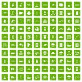 100 water supply icons set grunge green Stock Photo