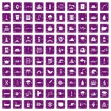 100 water supply icons set grunge purple. 100 water supply icons set in grunge style purple color isolated on white background vector illustration Stock Illustration