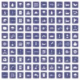 100 water supply icons set grunge sapphire. 100 water supply icons set in grunge style sapphire color isolated on white background vector illustration Stock Photography