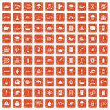 100 water supply icons set grunge orange. 100 water supply icons set in grunge style orange color isolated on white background vector illustration Stock Photo