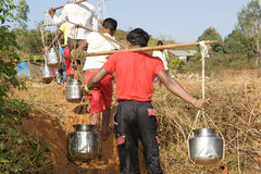 Water supply in the indian rural area Royalty Free Stock Images