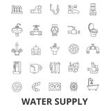 Water supply, pipe, drainage, hvac, pump, irrigation, reservoir line icons. Editable strokes. Flat design vector. Illustration symbol concept. Linear signs Royalty Free Stock Photo