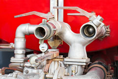 Water supply-pipe of fire truck Stock Photos