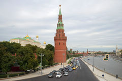 Water Supplying (Vodovzvodnaya) tower of the Moscow Kremlin and the Kremlin embankment in September on a cloudy day. Mos Stock Image
