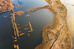 Water surface aerial landscape. Bright day in the countryside surrounded by reservoir. Water surface aerial landscape. Bright day in countryside surrounded by stock photography