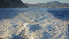 Water surface behind the fast moving catamaran. Background of water surface behind the fast moving catamaran to Rhodes, Marmaris Turkey on the background stock video
