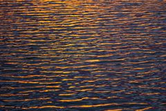 The water surface at the lake with light of sunset. Golden wave texture background, Reflected on the sea water surface, Beautiful natural texture of the waves Royalty Free Stock Photography