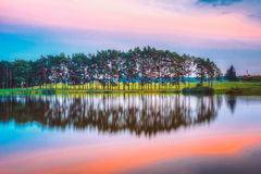 Water Surface Of Lake Pond River At Summer Sunny Evening. Nature Stock Images