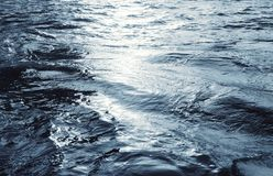 Water surface with ripples and sunlight reflections stock images