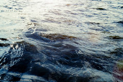 Water surface with ripples and sunlight reflections Royalty Free Stock Image