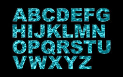 Water Swimming Pool Font Type Alphabet. Water texture alphabet English fonts stock photography