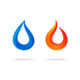 Water swirl fire flame gradient logo couple. Water and fire abstract colorful gradient swirl wave and flame logo, splash and blaze icon isolated on white Stock Photo