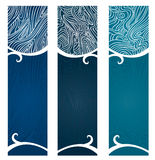Water Swirls Banner. Vector art in Illustrator 8. Banners with swirly, flowing graphic depiction of water and the organic nature of water Royalty Free Stock Photography