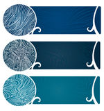Water Swirls Banner Too. Vector art in Illustrator 8. Banners with swirly, flowing graphic depiction of water and the organic nature of water Stock Images