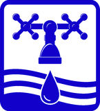 Water symbol with faucet tap, drop and wave Stock Image