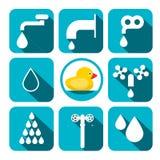 Water Symbols Set. Vector Aqua Icons in Squares. Water Symbols Set. Vector Aqua Icons in Blue Squares vector illustration