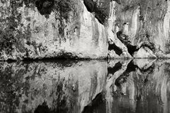Water symmetry. Black and white water reflection and symmetry in Nera Canyon, Romania Stock Image
