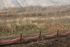 Water system at coal surface mining hambach germany Royalty Free Stock Photo