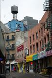 Water tank in Chinatown in NY city in USA Royalty Free Stock Image
