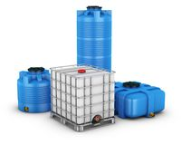 Containers for water. Water tank with metal grill and Ccontainers for water of different shapes. 3d rendering Royalty Free Stock Image