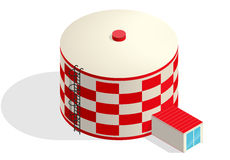 Water tank, red cister. Water treatment isometric building infographic reservoir. Royalty Free Stock Photo
