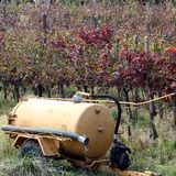 Water tank to irrigate the vines and the grapes during the summe Stock Photography
