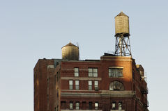 Water tanks. Deposits typical of a rooftop in the city of New York Stock Image