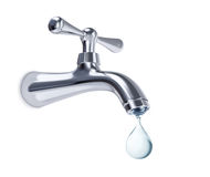 Water tap with big drop of water, with clipping path Royalty Free Stock Photography
