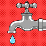 Water tap with drop comic style vector Stock Photos